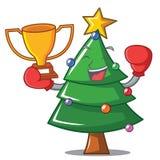 Boxing winner Christmas tree character cartoon. Vector illustration Stock Photo