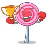 Boxing winner cute lollipop character cartoon. Vector illustration Royalty Free Stock Photography