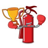 Boxing winner fire extinguisher mascot cartoon. Vector illustration Royalty Free Stock Images