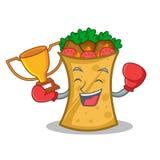 Boxing winner kebab wrap character cartoon. Vector art royalty free illustration