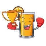Boxing winner orange juice mascot cartoon. Vector illustration Stock Image