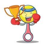 Boxing winner rattle toy mascot cartoon. Vector illustration Stock Photos