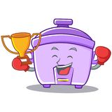 Boxing winner rice cooker character cartoon Stock Photography