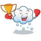 Boxing winner snow cloud character cartoon Royalty Free Stock Images
