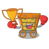 Boxing winner wooden trolley mascot cartoon. Vector illustration stock illustration
