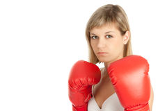 Boxing woman. A woman in boxing gloves. Isolated on white Royalty Free Stock Image