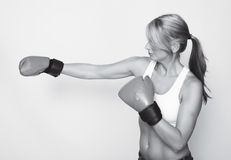 Boxing woman in black and white Royalty Free Stock Photos