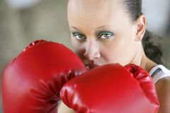 Boxing woman with graffiti Stock Photos