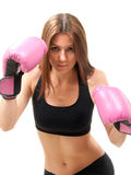 Boxing Woman In Pink Box Gloves Ready To Attack