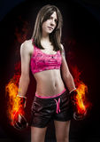 Boxing woman, pretty young boxing  standing and defending by han Royalty Free Stock Image