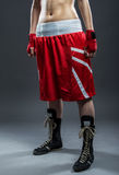 Boxing woman in red dress, detail photo Royalty Free Stock Photography