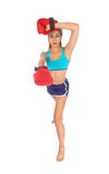 Boxing woman sweating. Stock Images