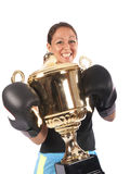 Boxing woman with a trophy Stock Images