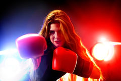 Boxing women fitness exercises in gym. Sport workout on ring . Royalty Free Stock Photos