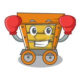 Boxing wooden trolley character cartoon. Vector illustration stock illustration