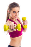 Boxing workout with dumbbell Royalty Free Stock Images