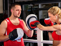 Boxing workout woman in fitness class. Sport exercise two people. Royalty Free Stock Images