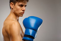 Boxing. Young Boxer ready to fight Stock Image