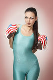 Boxing young woman Royalty Free Stock Photo