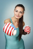 Boxing young woman Stock Image