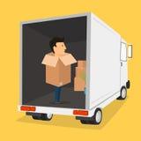 Boxman 移动与箱子 在箱子的事 运输公司 免版税图库摄影