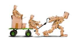 拉扯在台车的Boxman boxkids 免版税库存照片