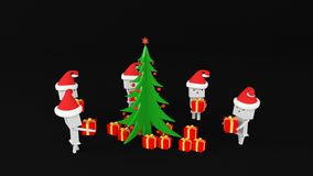Boxman with gift tree Stock Photo