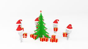 Boxman with gift tree Stock Image