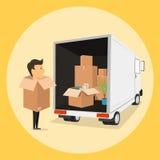 Boxman Het bewegen zich met dozen Dingen in doos Vervoerbedrijf Stock Foto