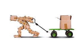 Box character pulling box on trolley. Box character pulling a trolley with a heavy large box, isolated on white background Stock Images