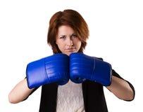 Boxning för affärskvinna Royaltyfria Foton