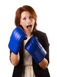 Boxning för affärskvinna Fotografering för Bildbyråer