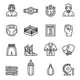 Boxning- och stridighetsymbolsuppsättning Tunn linje stilmaterielvektor stock illustrationer