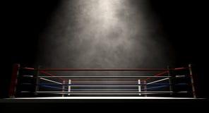 Boxning Ring Spotlit Dark Fotografering för Bildbyråer