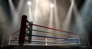 Boxning Ring Spotlit Dark arkivfoto