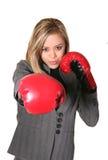 boxningaffärskvinna Arkivfoto