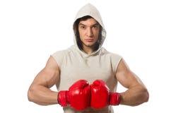Boxningbegrepp med den unga idrottsmannen Royaltyfri Bild