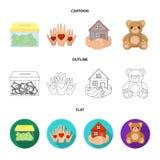 Boxningexponeringsglas med donationer, händer med hjärtor, hus i händer, nallebjörn för välgörenhet Välgörenhet- och donationupps vektor illustrationer