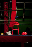 Boxninghandskar i boxningsring Royaltyfria Foton