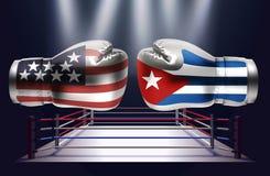 Boxninghandskar med tryck av USA och Kubaflaggorna som vänder mot varje stock illustrationer