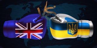 Boxninghandskar med trycket av nationsflaggor av Förenade kungariket royaltyfria bilder