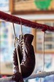 Boxninghandskar som hänger på repen av en boxningsring arkivbilder