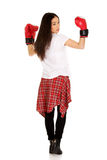 boxninghandskar som slitage kvinnabarn Arkivfoto