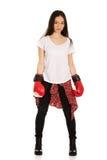 boxninghandskar som slitage kvinnabarn Arkivbilder