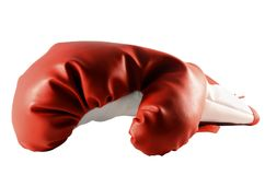 Boxninghandske som isoleras på vit bakgrund royaltyfria foton