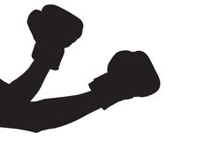 boxninghandskesilhouette Fotografering för Bildbyråer