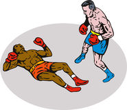 boxningknockoutvinnare Arkivfoto