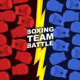 Boxninglagstrid Blåa och röda boxninghandskar Vektorillustrat royaltyfri illustrationer