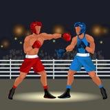 Boxningmatch i cirkellägenhetaffisch Yrkesmässiga boxare i sportswearen och utrustning som har vektorn för stridanblickhändelse stock illustrationer