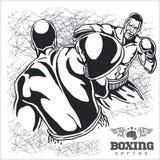 Boxningmatch - Retro illustration på grunge Arkivfoto